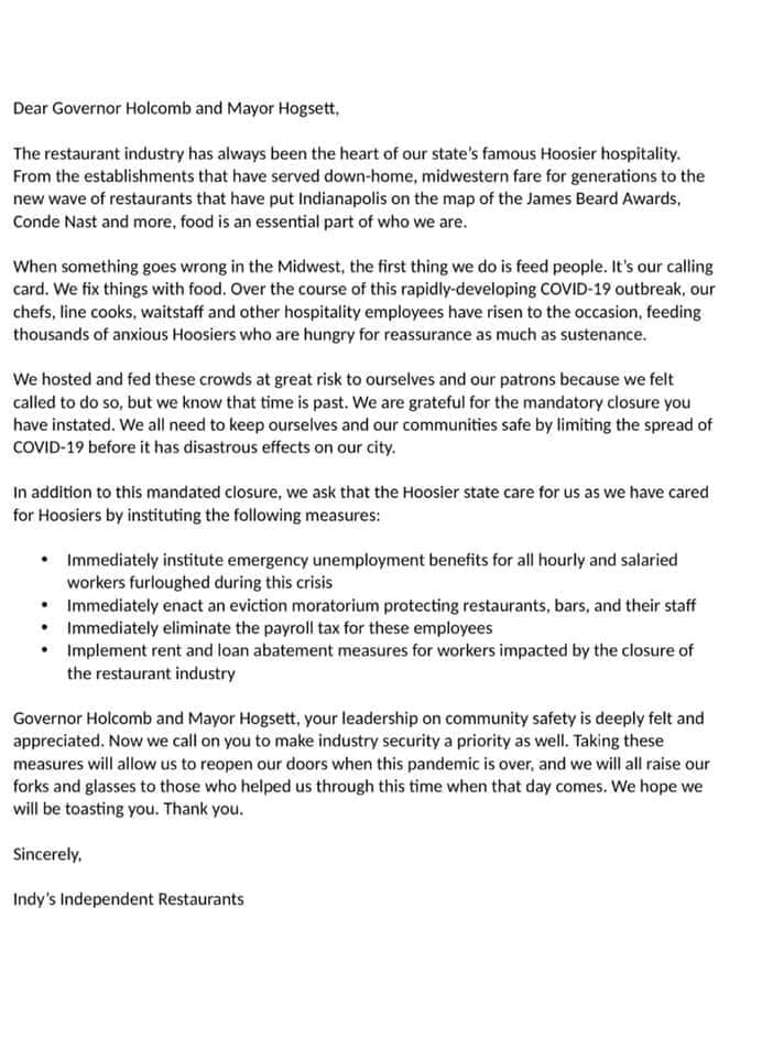 Letter from Indy's Independent Restaurants